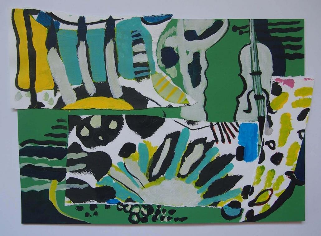Beskucnica, kolaz (akril na papiru), 29 x 42 cm, 2017.