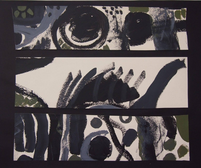 Blizu, kolaz (akril na papiru), 39 x 49 cm, 2018.