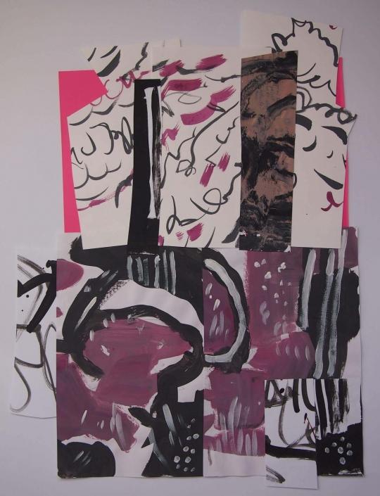 Lastavice, kolaz (monotipija, tusevi u boji, tempera, akril na papiru), 58 x 42 cm, 2018.