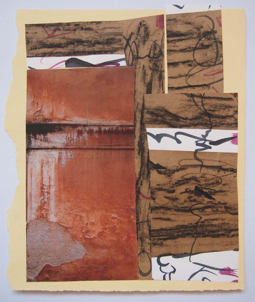 Niti, kolaz, frotaz (tus i ugljen na papiru, fotografija) , cca 35 x 30 cm, 2018.