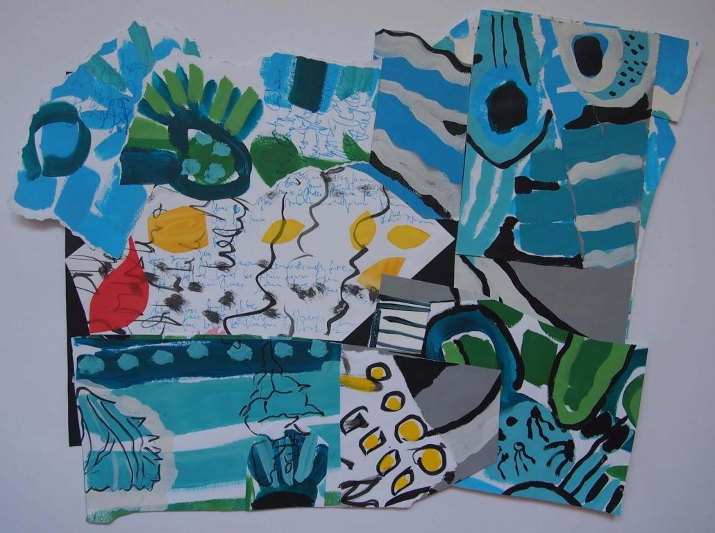 Skoljka u pijesku, dekolaz (tus i akril na papiru, oslikani komadi svile) 47 x 60 cm