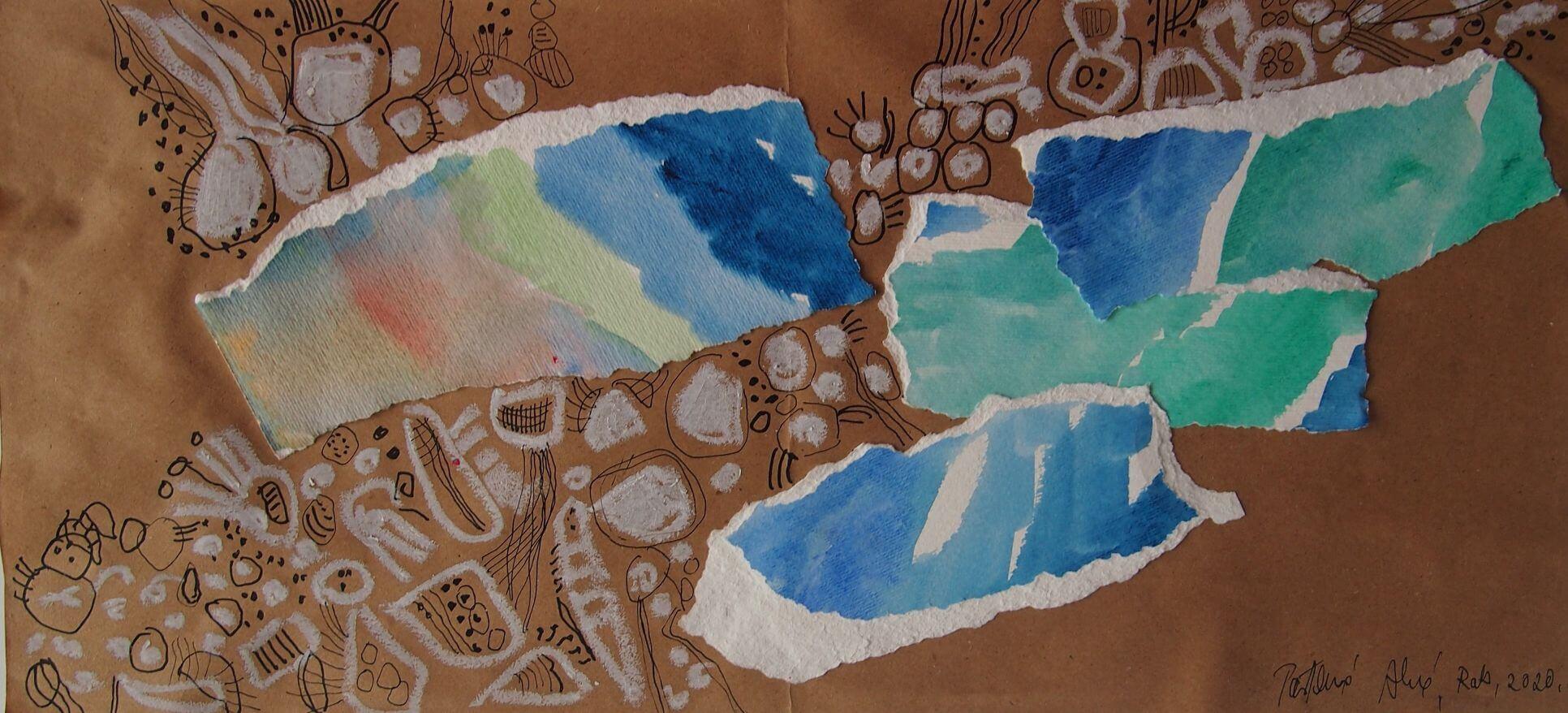 Sljuncana plaza, kolaz, 21 x 45,5 cm