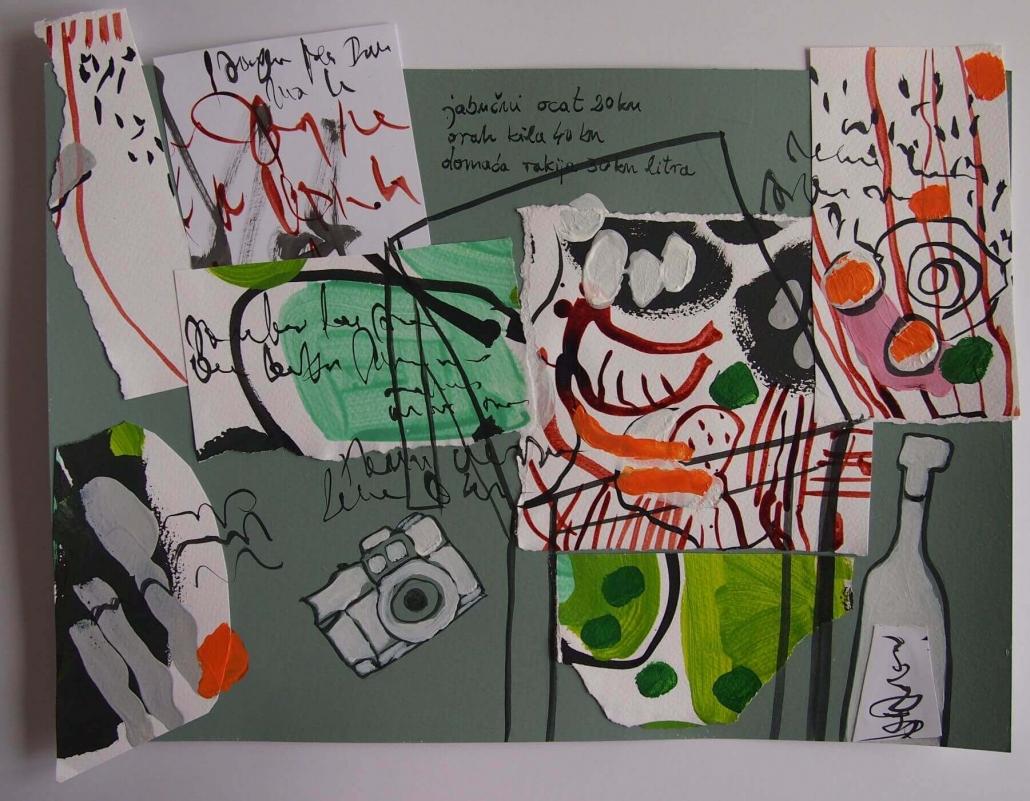 U boci, kolaz (tusevi u boji, akril na papiru), 31 x 42 cm, 2017.